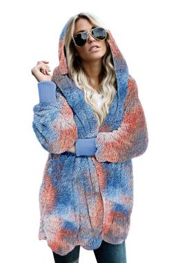 橙蓝扎染印花柔软毛绒保暖长袖连帽开襟外套