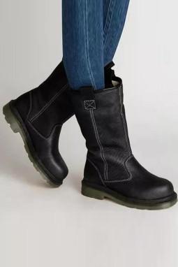 黑色人造皮革保暖平底靴