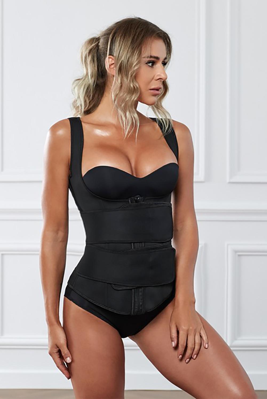 黑色氯丁橡胶塑腰拉链设计背心款塑身衣 LC51074
