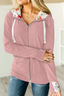 粉色休闲长袖拉链印花连帽外套