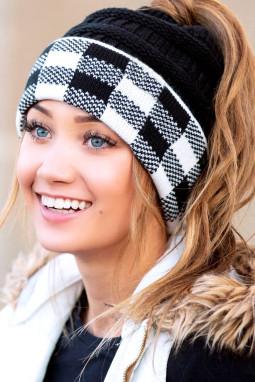 黑色格纹毛线帽