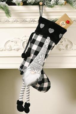 黑色格纹小矮人挂饰圣诞节袜子
