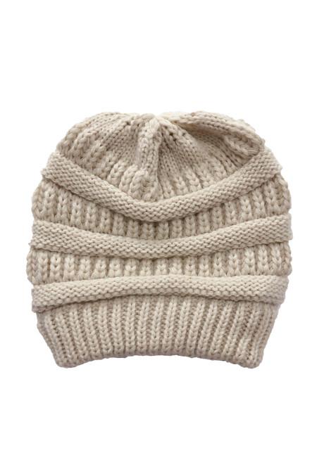 杏色针织毛线帽 LC02128