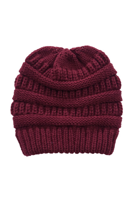 酒红色针织毛线帽 LC02128