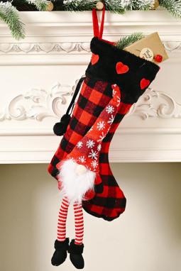 红色格纹小矮人挂饰圣诞节袜子