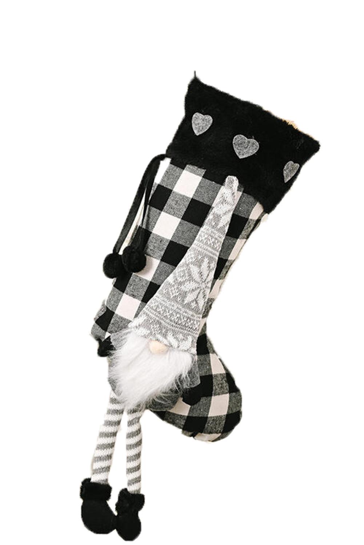 黑色格纹小矮人挂饰圣诞节袜子 LC01569