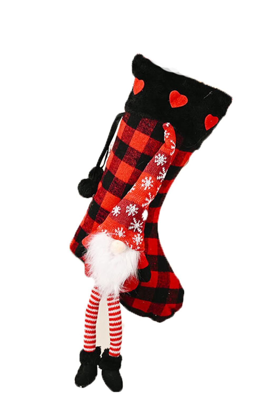 红色格纹小矮人挂饰圣诞节袜子 LC01569