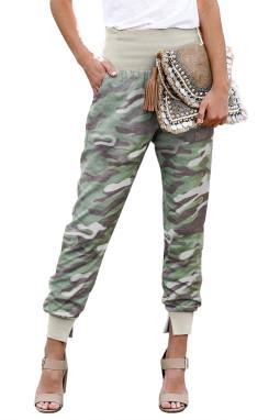 浅绿色迷彩宽腰口袋开叉休闲裤