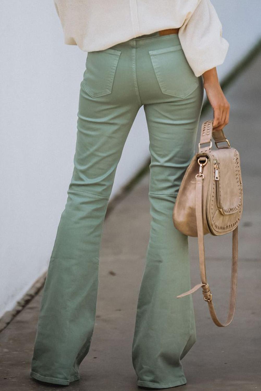 绿色高腰喇叭牛仔长裤 LC78365