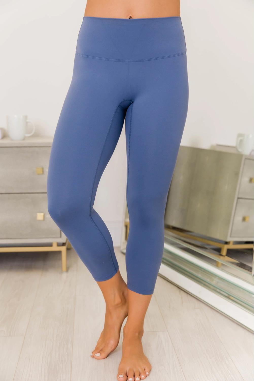蓝色交叉后背运动文胸打底裤瑜伽两件套 LC261068