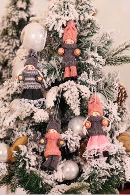 4个/袋圣诞树可爱娃娃吊饰