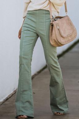 绿色高腰喇叭牛仔长裤