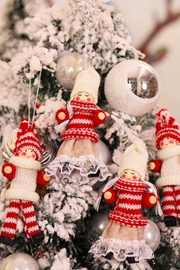 4个/袋圣诞树甜美娃娃吊饰