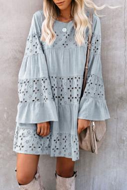 灰蓝色复古优雅O领喇叭袖镂空迷你连衣裙