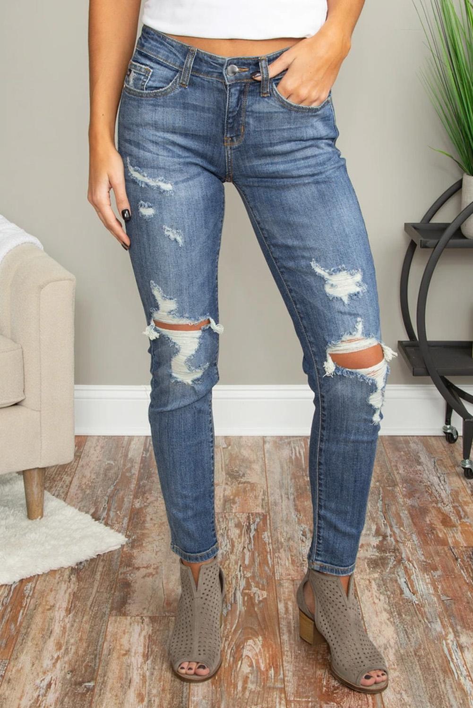 蓝色破洞镂空仿旧修身牛仔裤 LC78266
