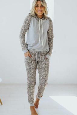 灰色豹纹连帽衫慢跑裤休闲运动套装