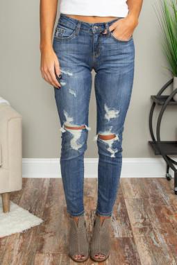 蓝色破洞镂空仿旧修身牛仔裤
