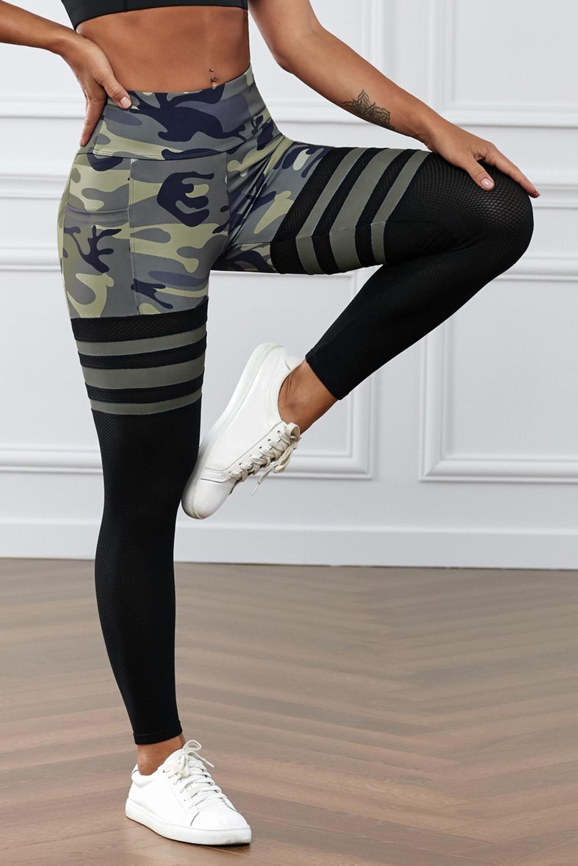 绿色迷彩印花条纹高腰瑜伽锻炼运动裤 LC263093