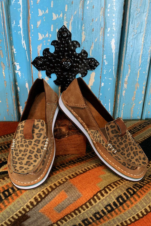 豹纹拼接平底帆布休闲鞋 LC12372