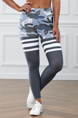 灰色迷彩印花条纹高腰瑜伽锻炼运动裤