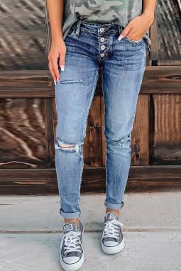 蓝色破洞仿旧纽扣修身牛仔裤
