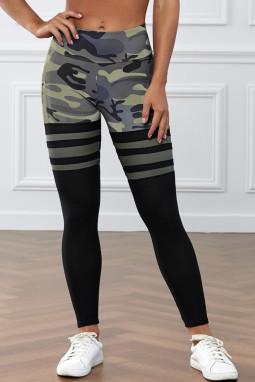 绿色迷彩印花条纹高腰瑜伽锻炼运动裤