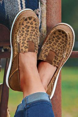 豹纹拼接平底帆布休闲鞋