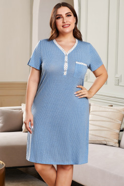 蓝色纽扣V领波点印花短袖大码家居休闲裙