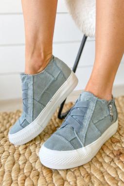 灰蓝色弹力松紧休闲帆布鞋