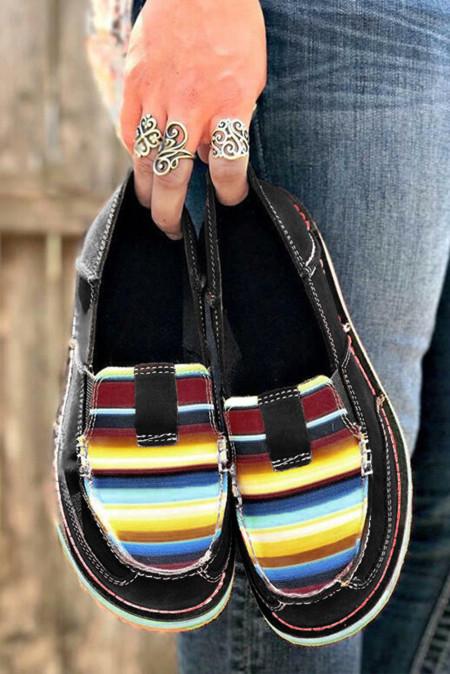 条纹拼色平底帆布休闲鞋 LC12372