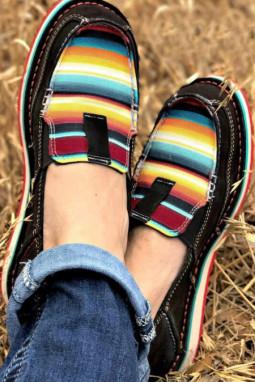 条纹拼色平底帆布休闲鞋