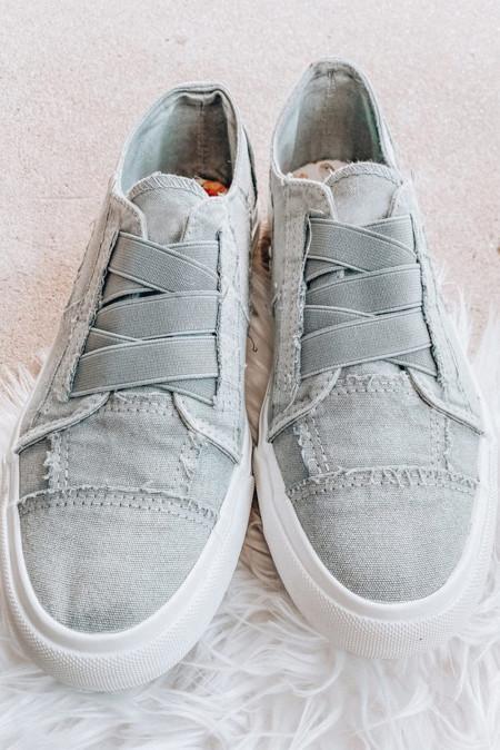 灰蓝色弹力松紧休闲帆布鞋 LC12446