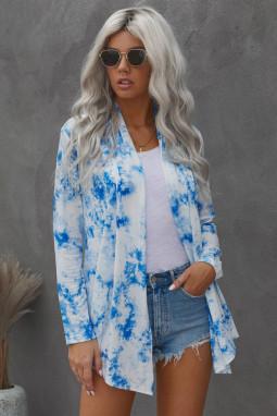 蓝色扎染舒适日常休闲开衫