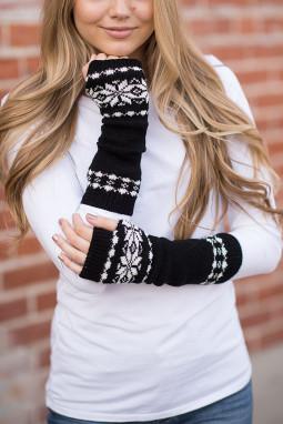 黑色雪花印花针织保暖漏指手套