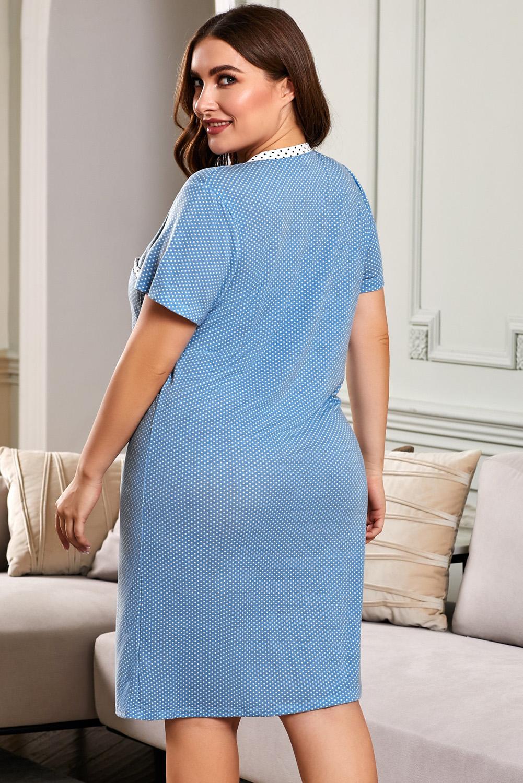 蓝色纽扣V领波点印花短袖大码家居休闲裙 LC31310