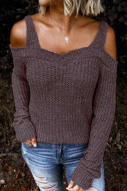 时尚优雅露肩长袖针织毛衣