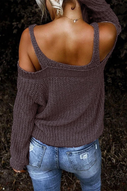 时尚优雅露肩长袖针织毛衣 LC272026