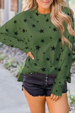 绿色圆领长袖星星印花宽松休闲长袖上衣