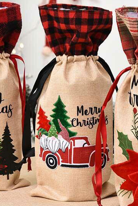 圣诞快乐格子矮人卡车酒瓶袋 LC01681