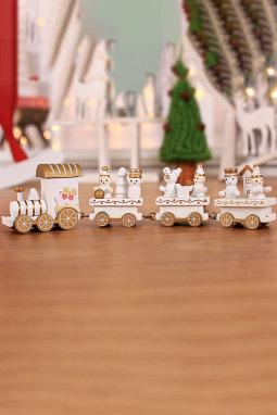 白色木制火车节日装饰圣诞礼物