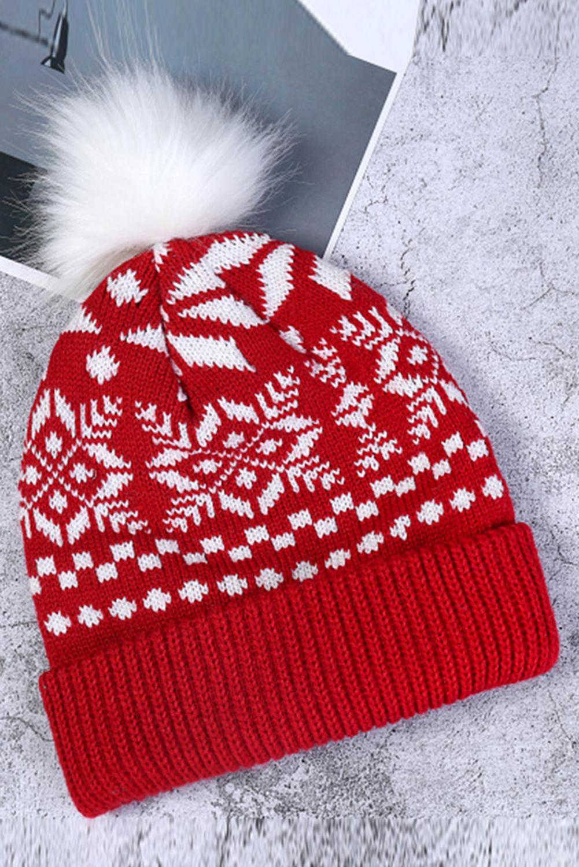 红色圣诞节印花针织毛线帽 LC02275
