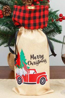 圣诞快乐格子矮人卡车酒瓶袋