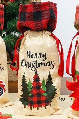 圣诞快乐格子树酒瓶袋