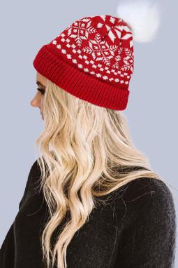 红色圣诞节印花针织毛线帽