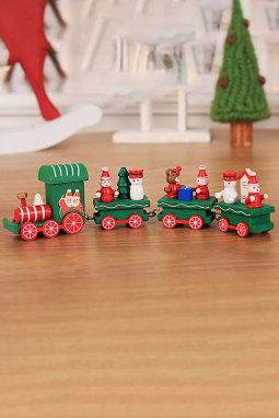 绿色木制火车节日装饰圣诞礼物