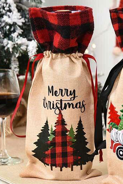 圣诞快乐格子树酒瓶袋 LC01681