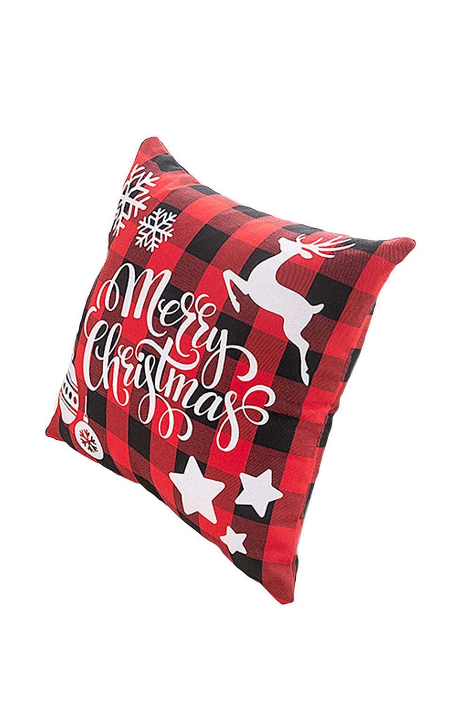 圣诞快乐红色格子麋鹿图案家用枕头套 LC06088