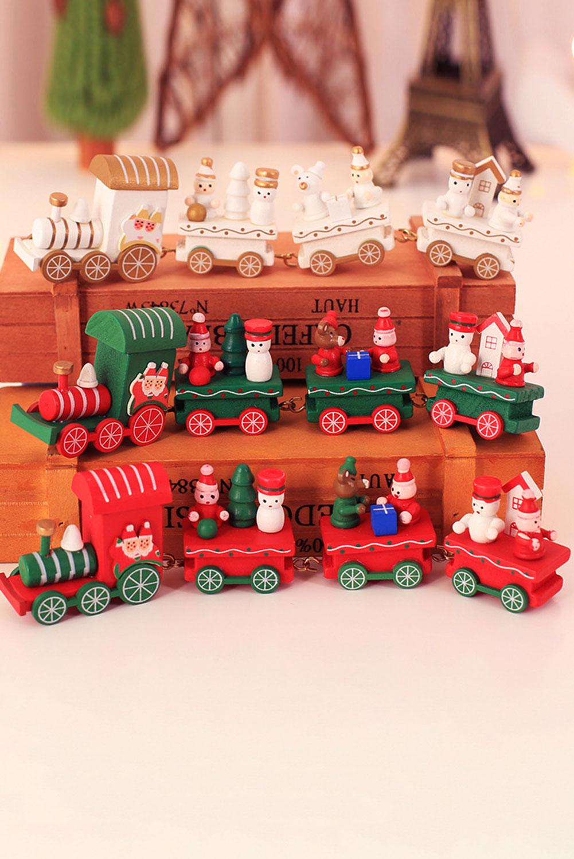 白色木制火车节日装饰圣诞礼物 LC01684
