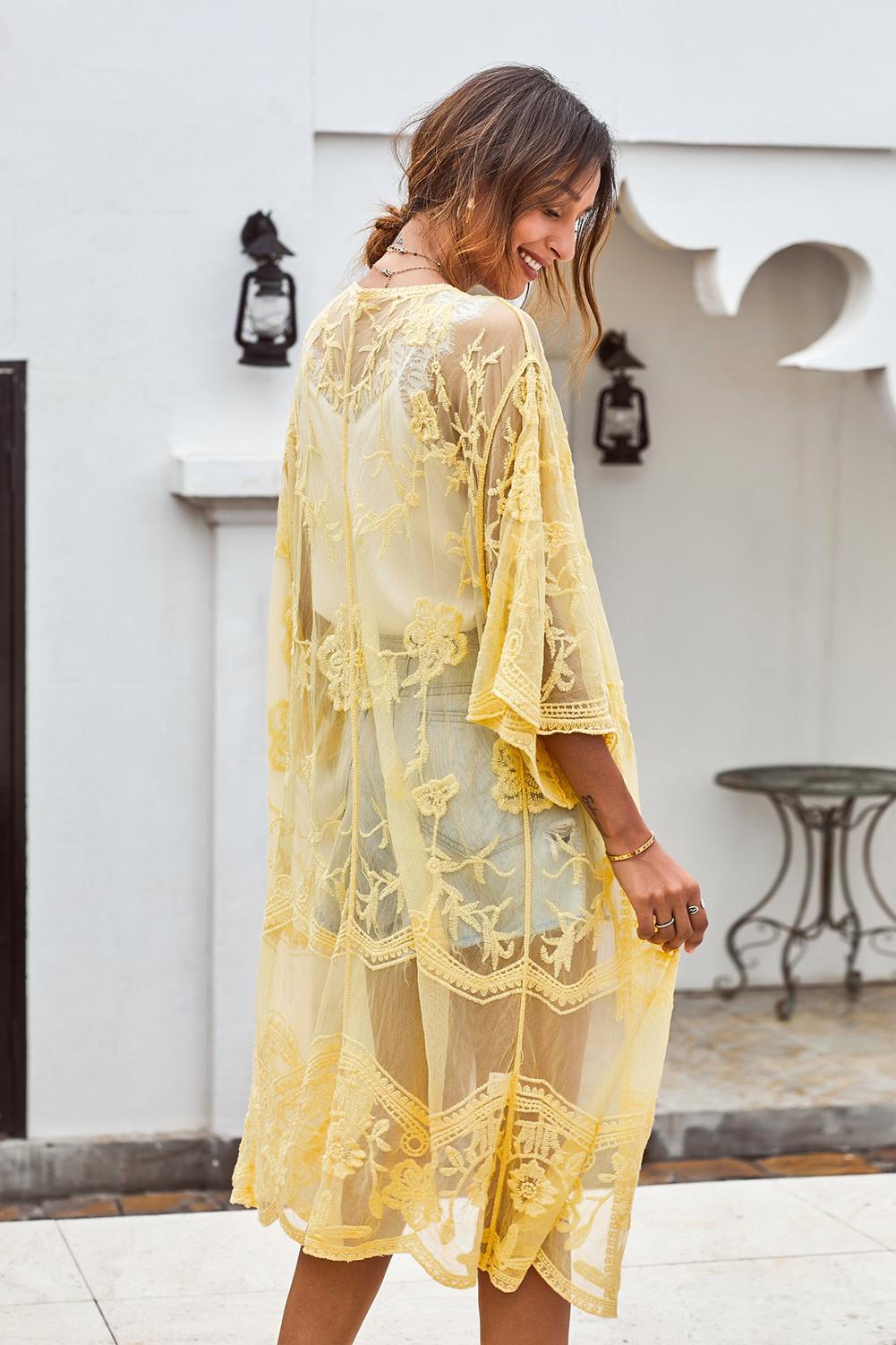 黄色钩针编织蕾丝和服袖海滩度假开衫罩衫 LC85521