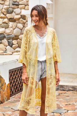 黄色钩针编织蕾丝和服袖海滩度假开衫罩衫